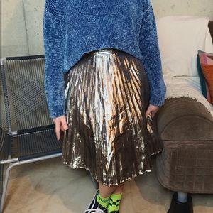 Gold Metallic Pleated Midi A-Line GAP Skirt